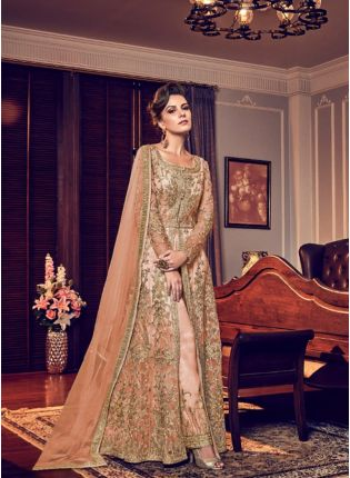 Peach Color Party Wear Designer Wedding Wear Slit Cut Anarkali Suit