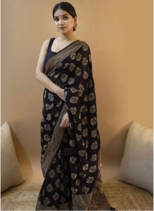 Soothing Black Festive Saree With Silk Weave Details