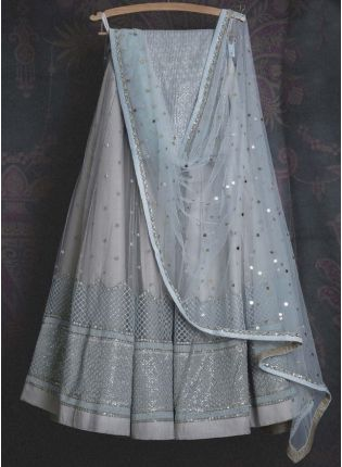 Adorable Light Grey Soft Net Base Sangeet Wear Lehenga Choli