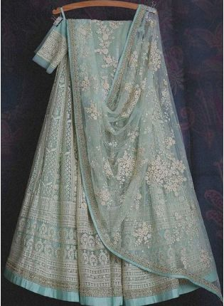 Magnificent Turquoise Color Soft Net Base With Sequins And Resham Work Lehenga Choli