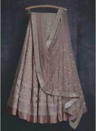 Gorgeous Pale Pink Soft Net Base Sangeet Wear Lehenga Choli