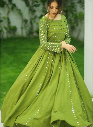 Phenomenal Olive Green Cotton Base Mirror Work Gown