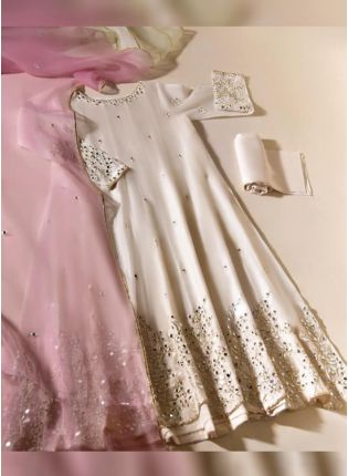 Glitzy Off-White Color Mirror Work Salwar Kameez