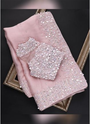 Baby Pink Festive Embroidered Saree With Moti Details