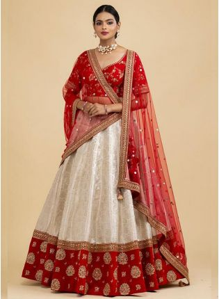 Graceful White Resham Print Art Silk Flared Lehenga Choli Set