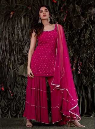 Gorgeous Pink Royal Georgette Sharara Salwar Suit