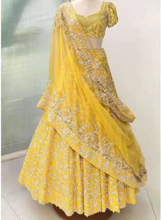 Eye-Captivating Yellow Color Banglori Silk Base Lehenga Choli