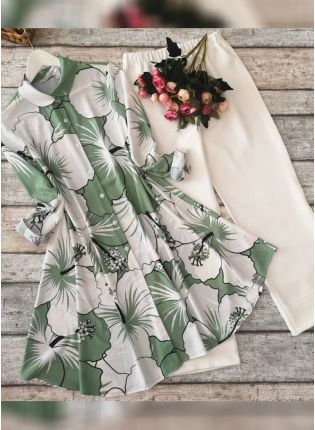 Designer Olive Green And White Printed Crep Silk Base Pant Style Suit