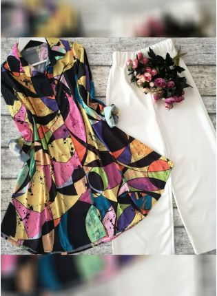 Designer Multi Color Printed Crep Silk Base Top With Pant Suit
