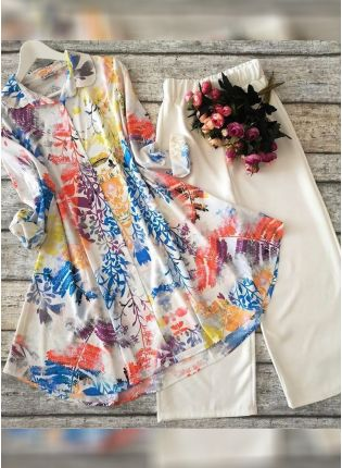 Designer Multi Color Heavy Printed Silk Base Top With Pant Suit