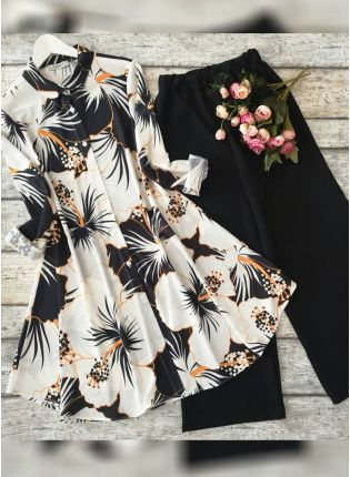 Black And White Floral Printed Crep Silk Base Suit