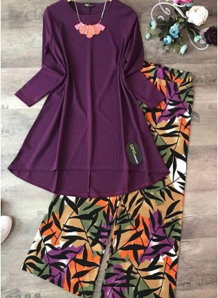 Buy This Designer purple Color Crep Silk Base Top With Pant Suit