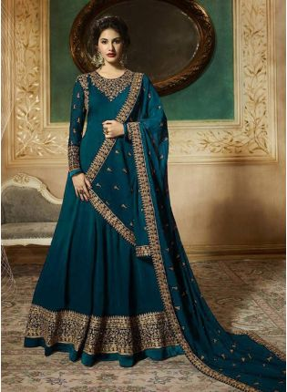 Georgette Base Turquoise Blue Heavy Embroidery Work Anarkali Suit