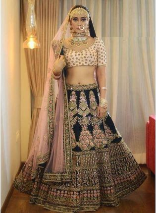 Navy Blue Velvet Panelled Bollywood Lehenga Choli
