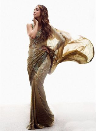 Brown Colored Party-Wear Georgette Saree With Sequins Work