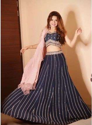 Adorable Navy Blue Georgette Base Lehenga Choli