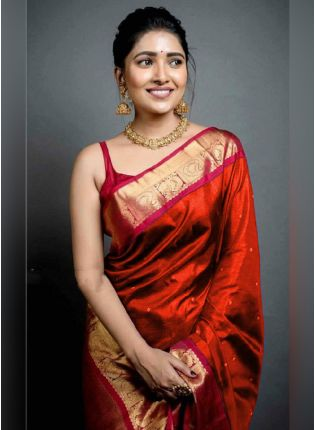 Traditional Look Red Color Art Silk Base Wedding Wear Saree With Contrast Blouse