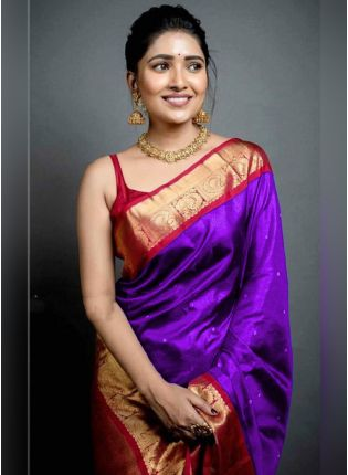 Traditional Look Purple Color Art Silk Base Wedding Wear Saree With Contrast Blouse