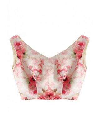 White Color Digital Floral Printed Blouse