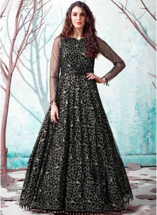 Black Color Net Base Party Wear Designer Gown
