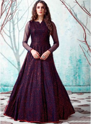 Navy Blue Color Net Base Party Wear Designer Gown