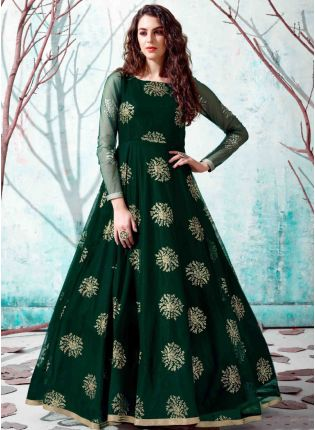 Green Color Net Base Party Wear Designer Gown