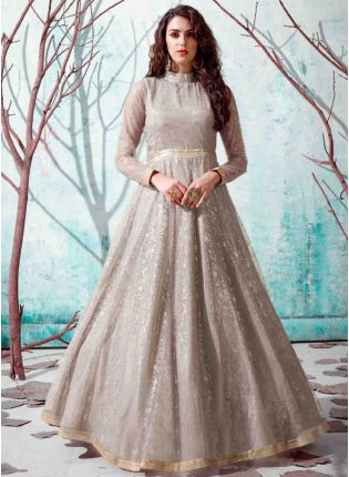 Beige Color Net Base Party Wear Designer Gown