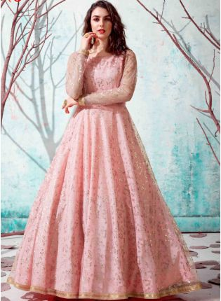 Pink Color Net Base Party Wear Designer Gowns
