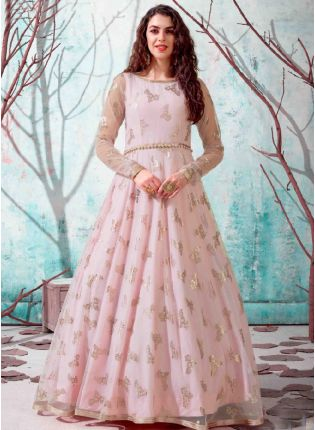 Baby Pink Black Color Net Base Party Wear Designer Gown