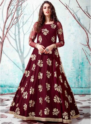 Maroon Black Color Net Base Party Wear Designer Gown
