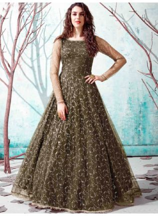 Olive Green Color Net Base Party Wear Designer Gown