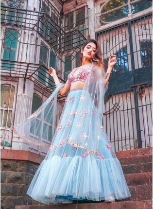 Splendid Sky Blue Color Net Base Ruffle Lehenga Choli