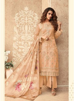 Light Peach Soft Net Straight Anarkali Suit