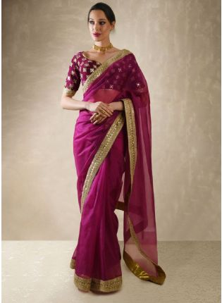 Purple Color Sequins And Moti Work Embroidery Saree  With Matching Blouse