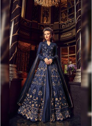 Charming Blue Colored Soft Net Base Slit Cut Designer Anarkali Suit