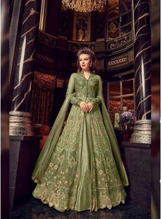 Exceptional Pista Green Soft Net Base Slit Cut Designer Anarkali Suit