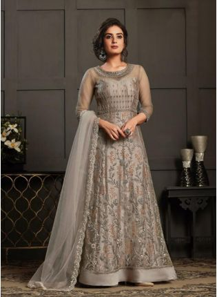 Beige Color Soft Net Designer Gown With Dupatta Set
