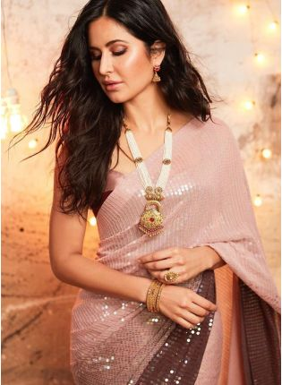 Pastel Pink Party-Wear Georgette Saree With Sequins Work