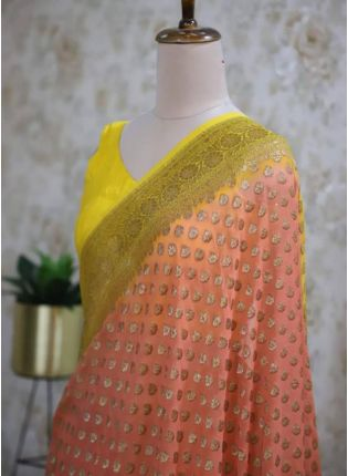 Traditional Look Peach Color Silk Base Saree With Contrast Blouse