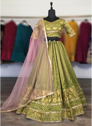 Stunning Green Color Silk Base Lehenga Choli