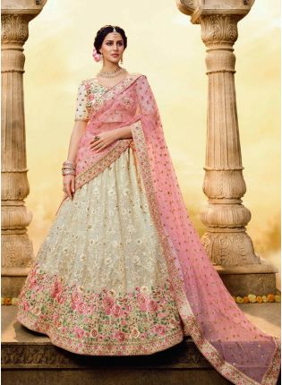 White Resham Stone Zari Sequin Soft Net Flared Lehenga Choli