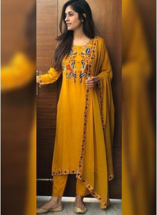 Charming Turmeric Yellow Rayon Base Designer Salwar Suit