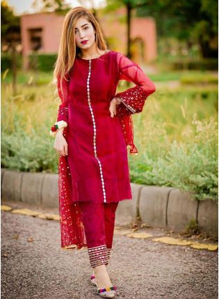 Delightful Dark Red Georgette Base Embroidered Pant Style Suit