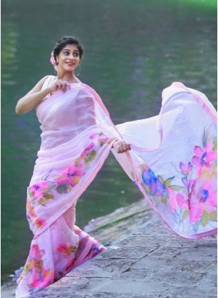 Gorgeous Baby Pink Color Georgette Base Saree
