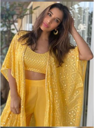 Jacket Style Yellow Color Palazzo Suit