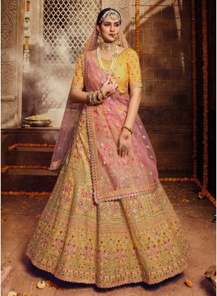 Yellow Resham Stone Zari Sequin Soft Net Flared Lehenga Choli