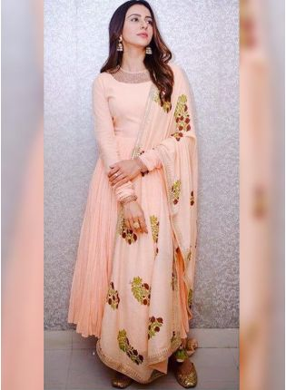 Peach Resham And Georgette Reception Anarkali Churidar Suit