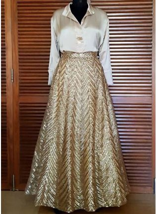 Beige Color Sequins Work Lehenga With Crop Top
