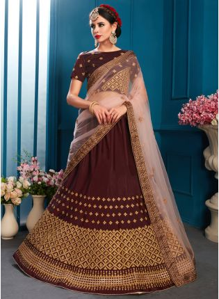 Elegant Brown Color Designer satin Base Lehenga Choli