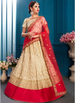 Delightful Beige Color Satin Base Embroidered Lehenga Choli